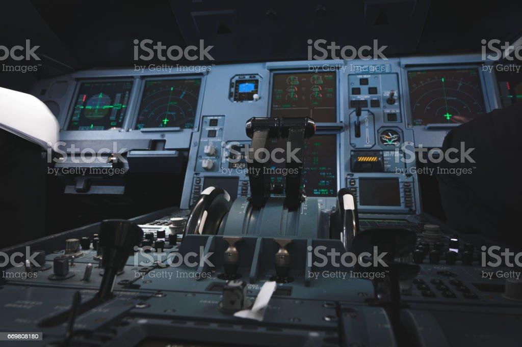 Modern airplane flight deck stock photo
