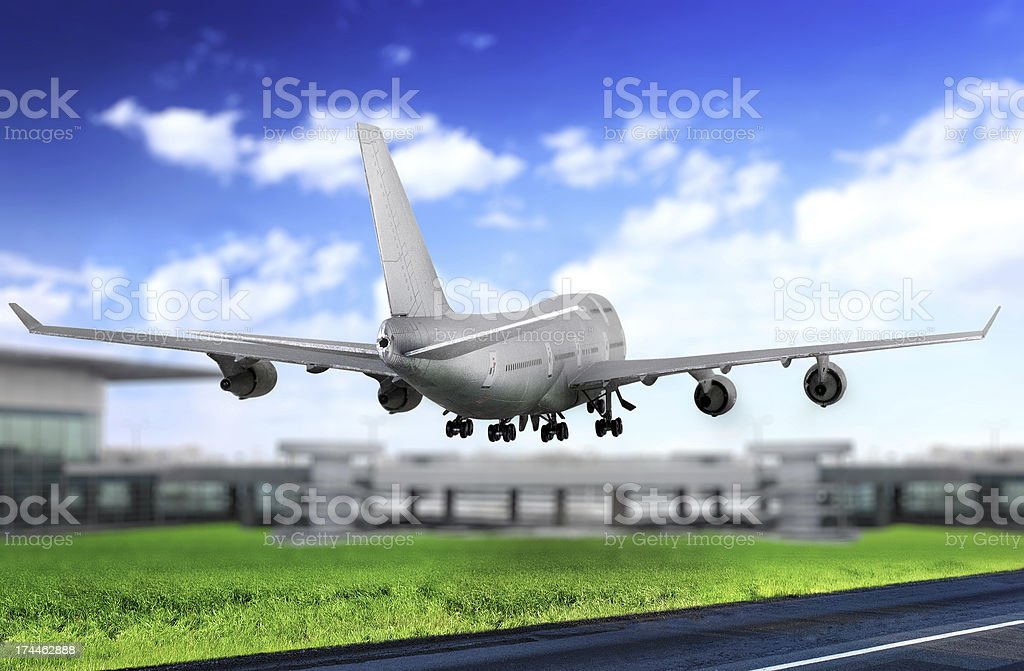 Modern airplane  in  Airport. Take off on runway. stock photo