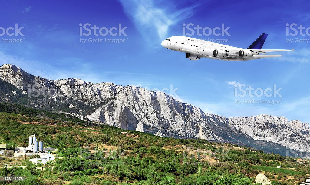 Modern airplane  in South part of Crimea. stock photo
