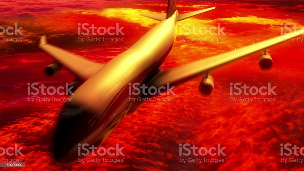 Modern airplane  over the clouds. stock photo