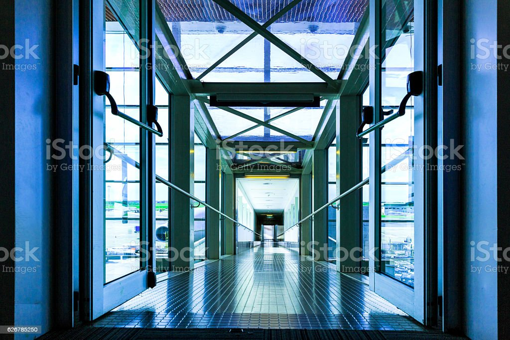 Modern Airport Boarding Gate stock photo