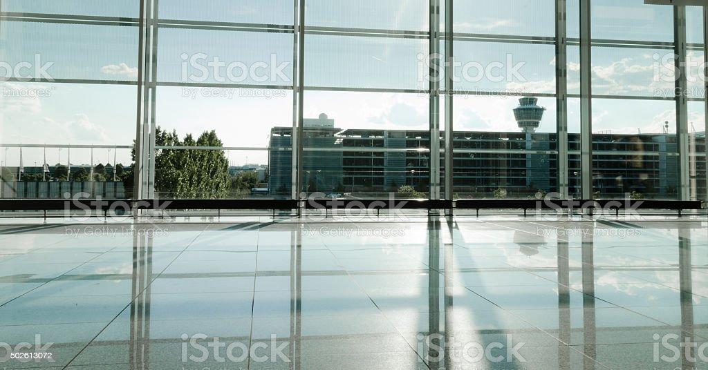 Modern Airport building sunlit hall stock photo