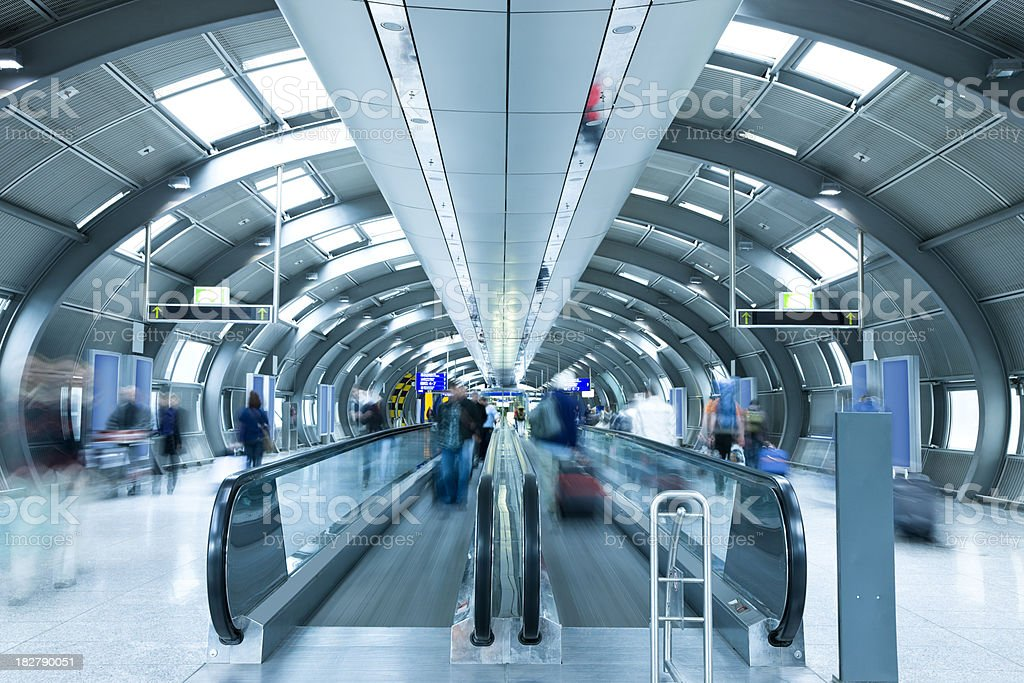 Modern Airport Corridor with Moving Walkways royalty-free stock photo