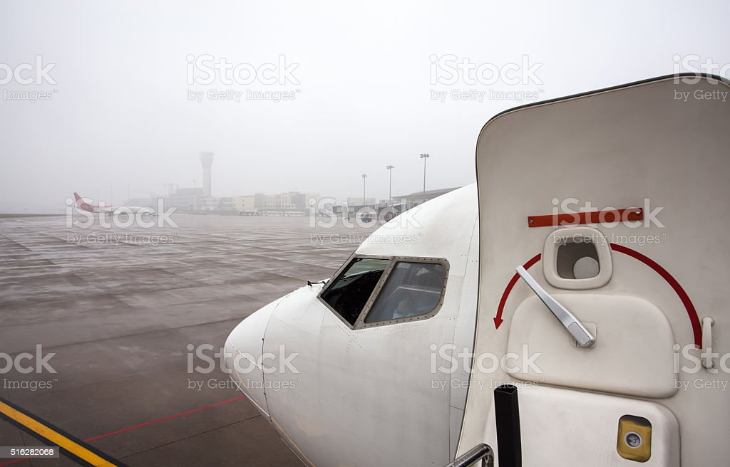 Modern Airport in Rainy Day stock photo