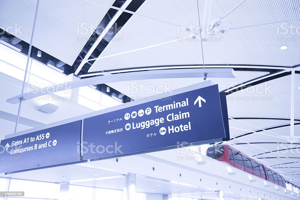 Modern Airport Tram and Signs royalty-free stock photo