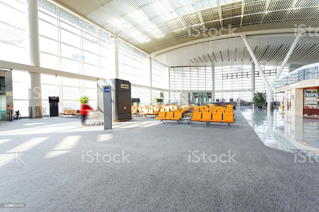 modern airport waiting hall interior stock photo