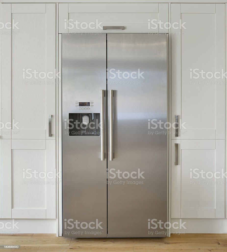 modern American fridge freezer stock photo