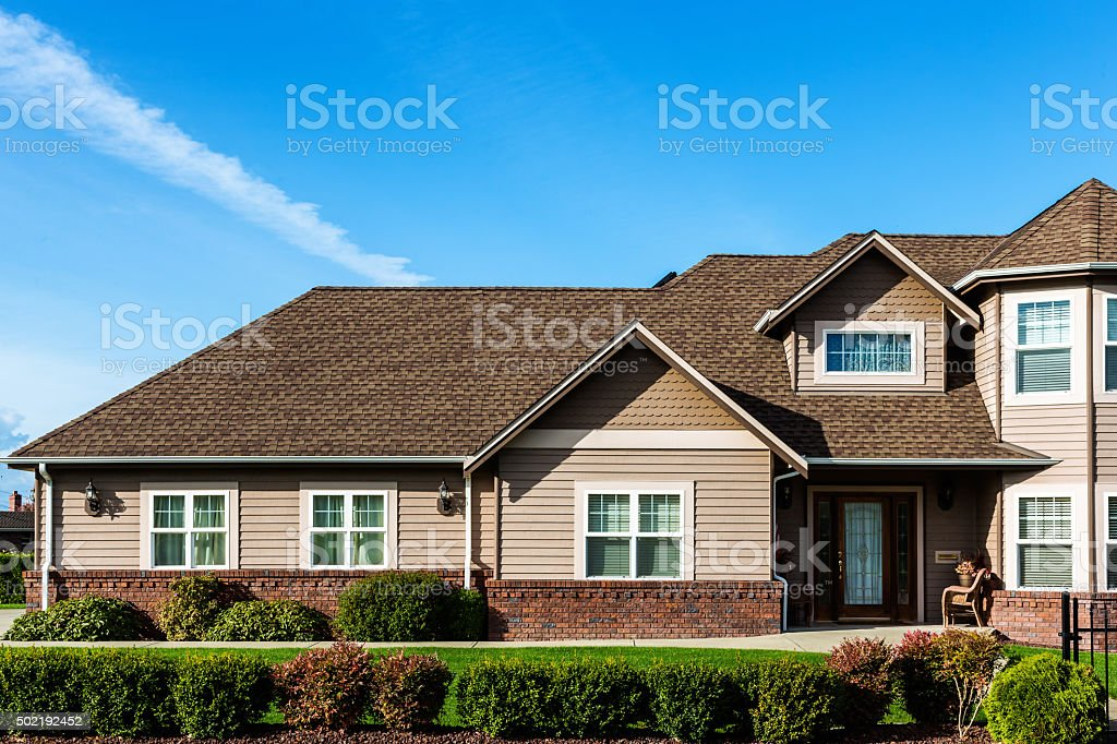 Modern American Home Exterior stock photo