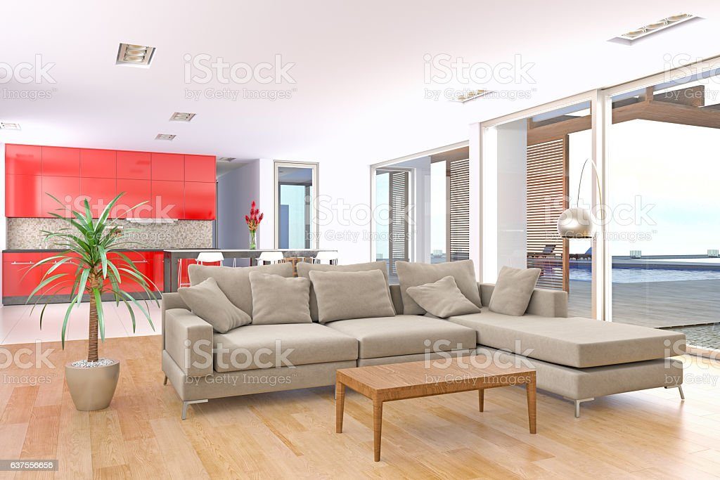 Modern and bright living room interior in modern villa