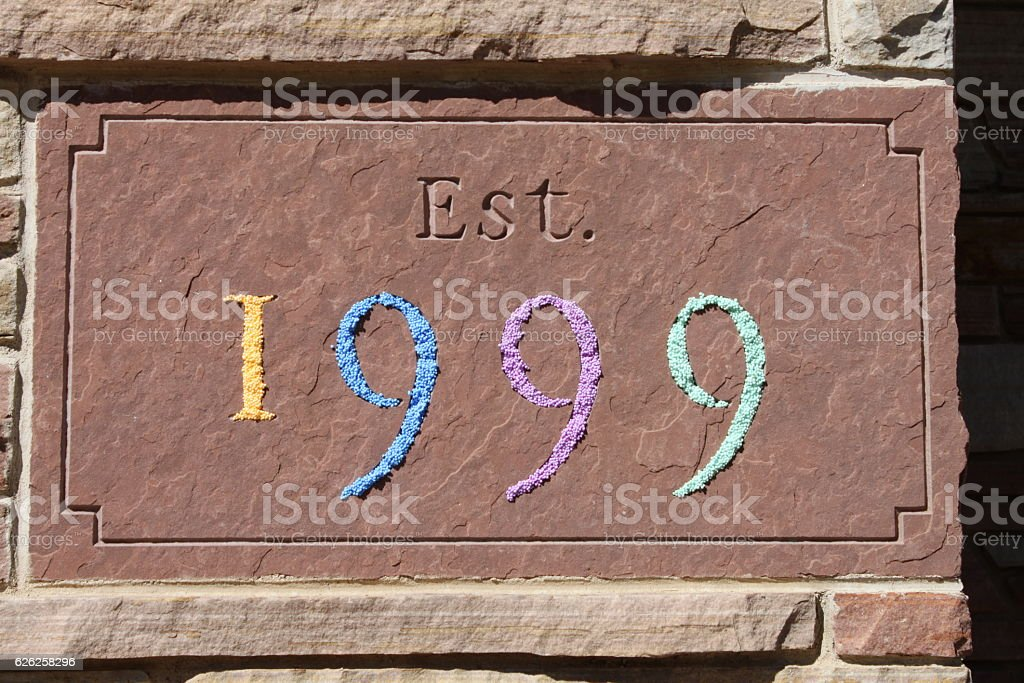 Modern and colorful twist on stone cut numbers. stock photo