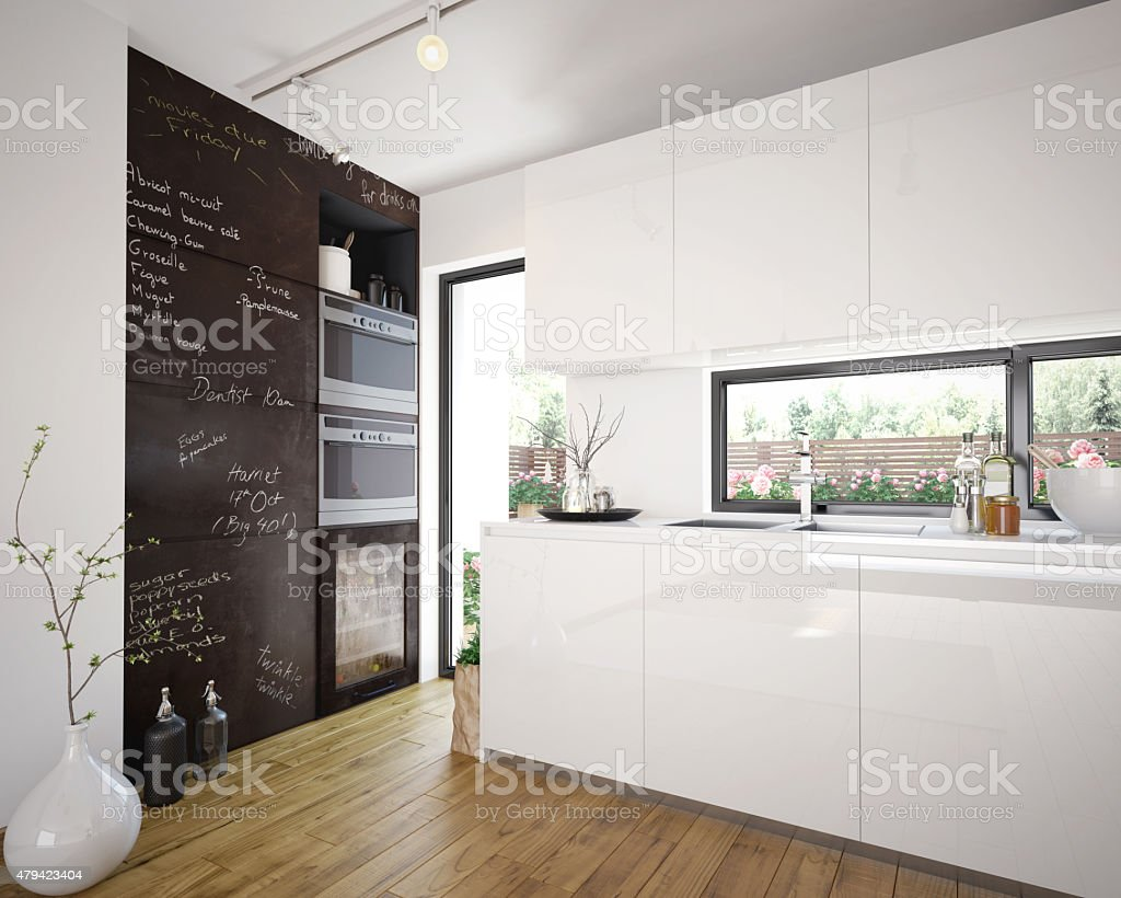 Modern and comfy kitchen interior stock photo