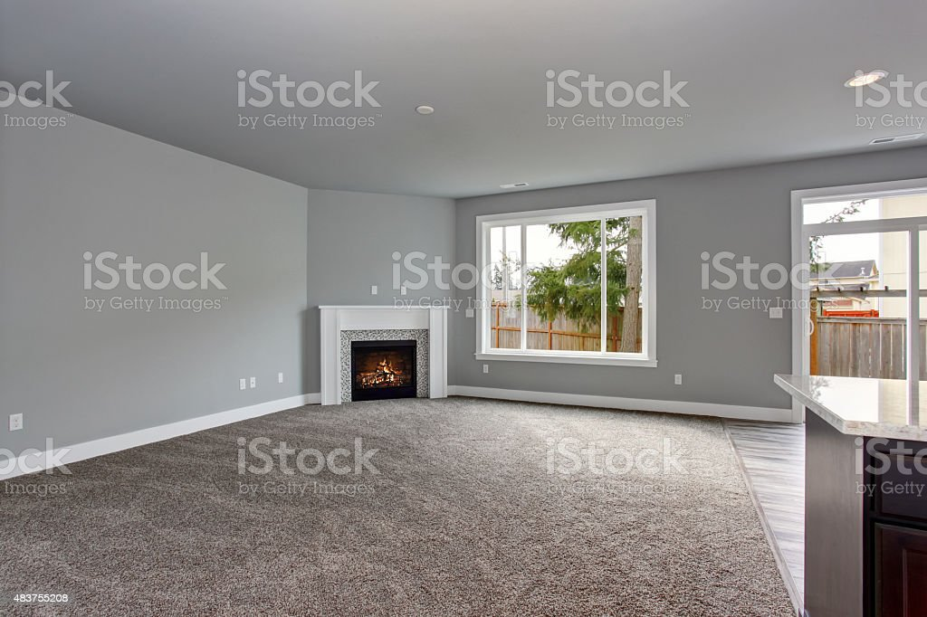 Modern and completely gray interior of home. stock photo