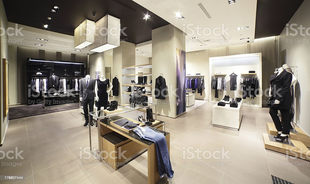 modern and fashion clothes store stock photo