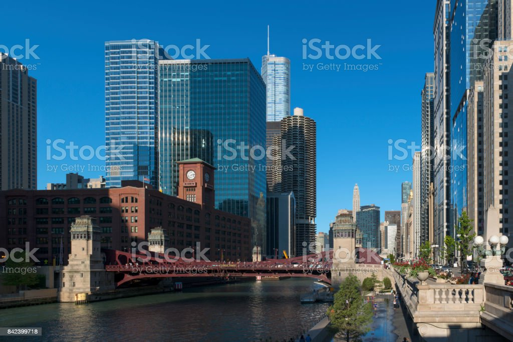 Modern and historic architecture of Chicago downtown stock photo