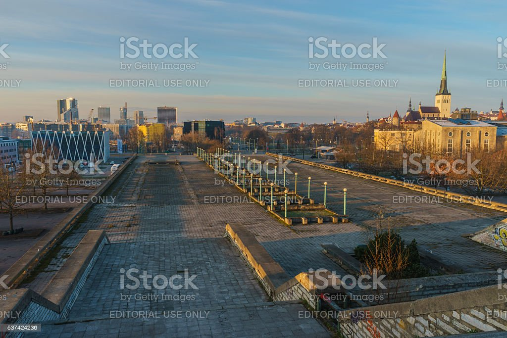 Modern and medieval architecture of Tallinn city stock photo