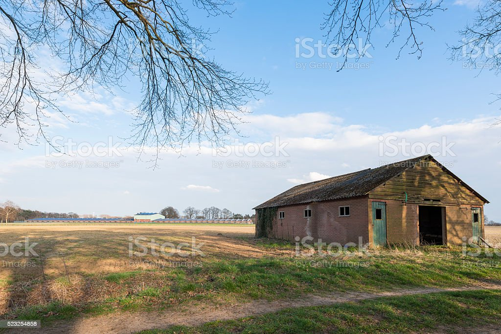 Modern and old barn. stock photo