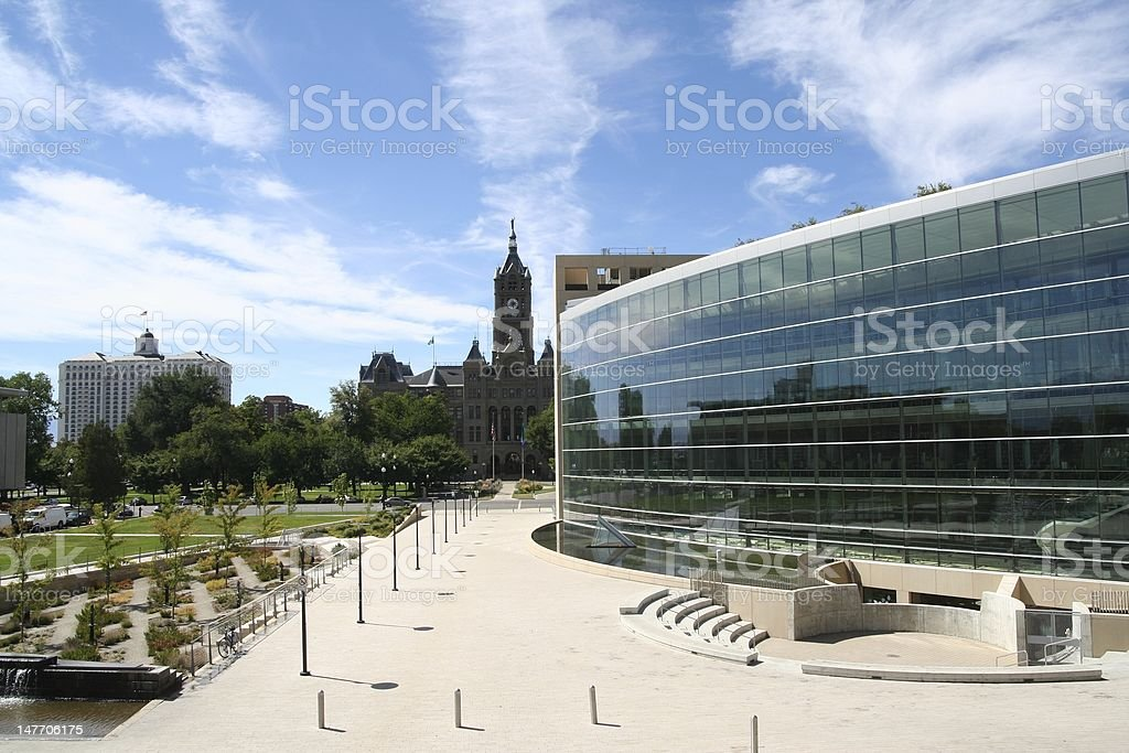 Modern and old buildings royalty-free stock photo