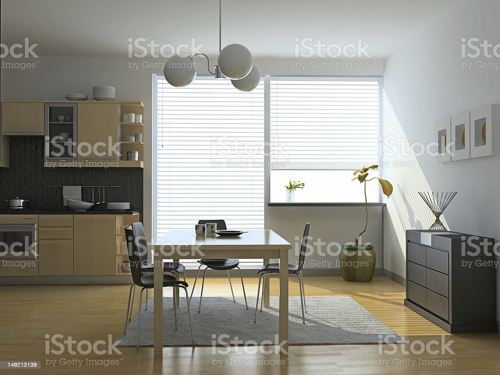 A modern and spacious kitchen interior stock photo
