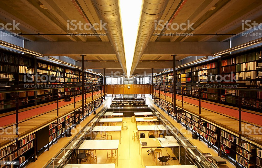 Modern and spacious library interior royalty-free stock photo