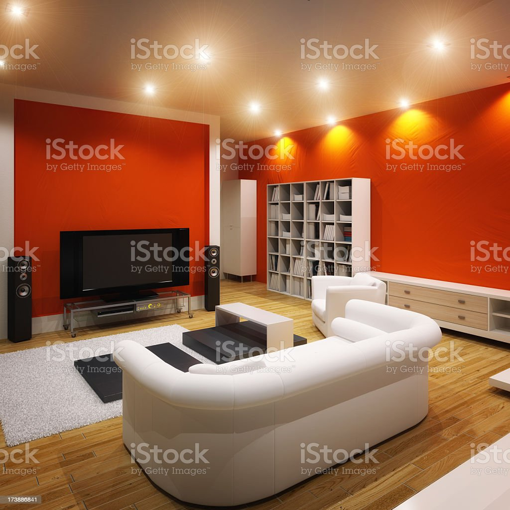 A modern and spacious living room space royalty-free stock photo