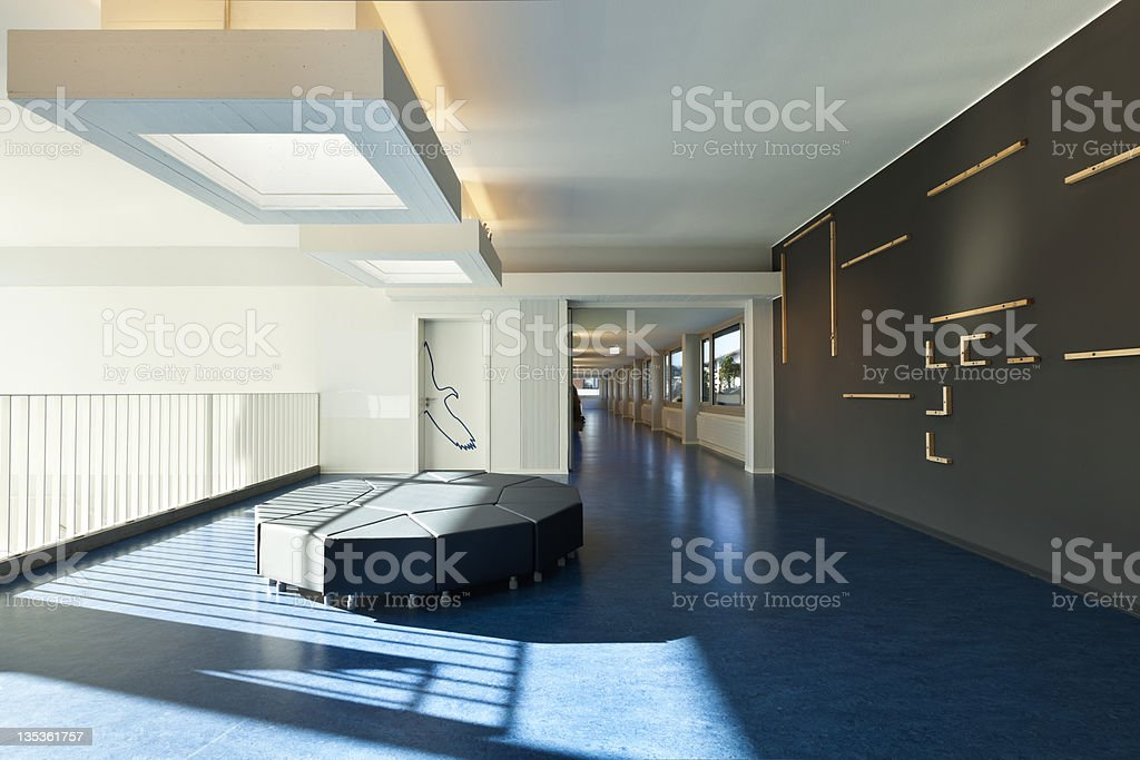 Modern and spacious public school hall royalty-free stock photo