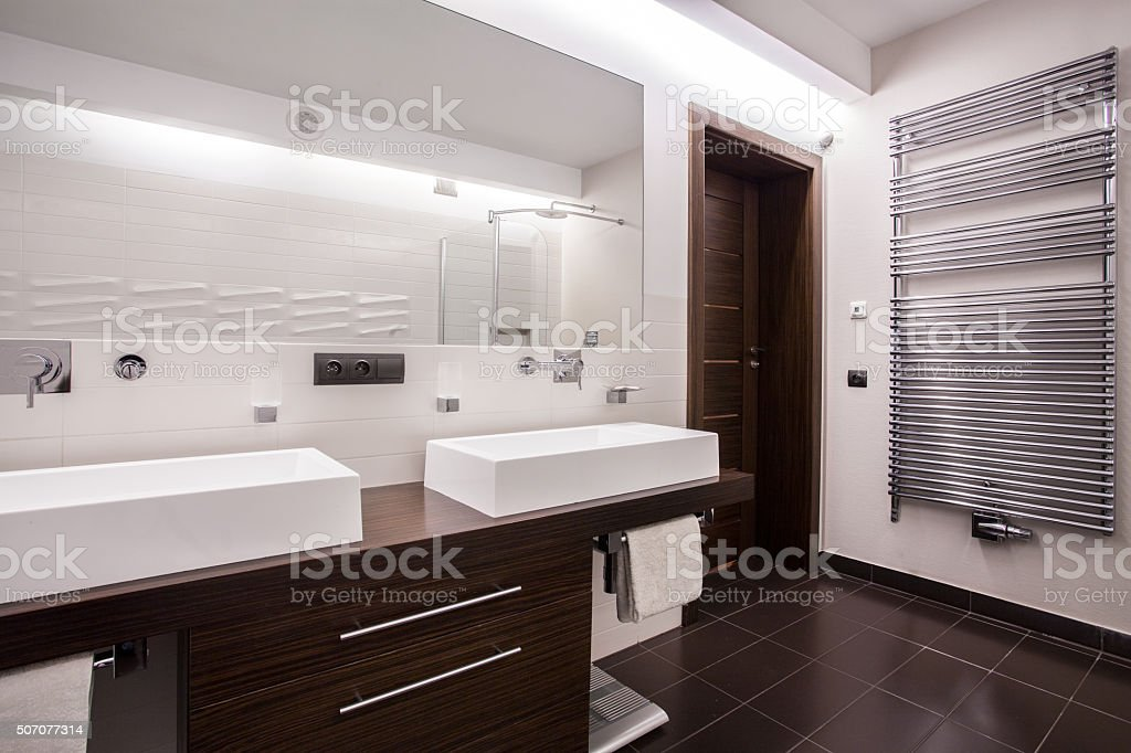Modern and sterile bathroom stock photo