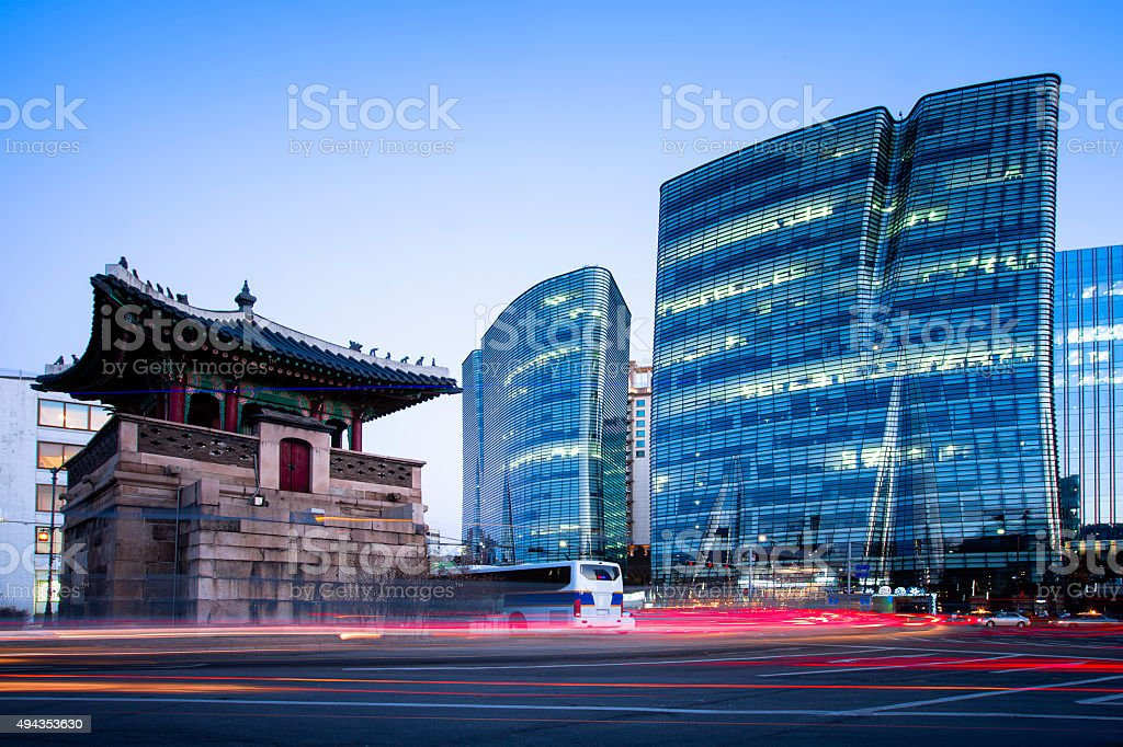 Modern and Traditional Seoul Cityscape stock photo