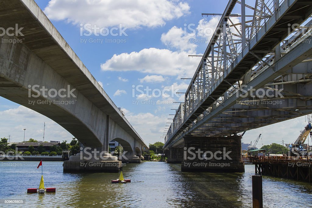 modern and vintage bridge stock photo