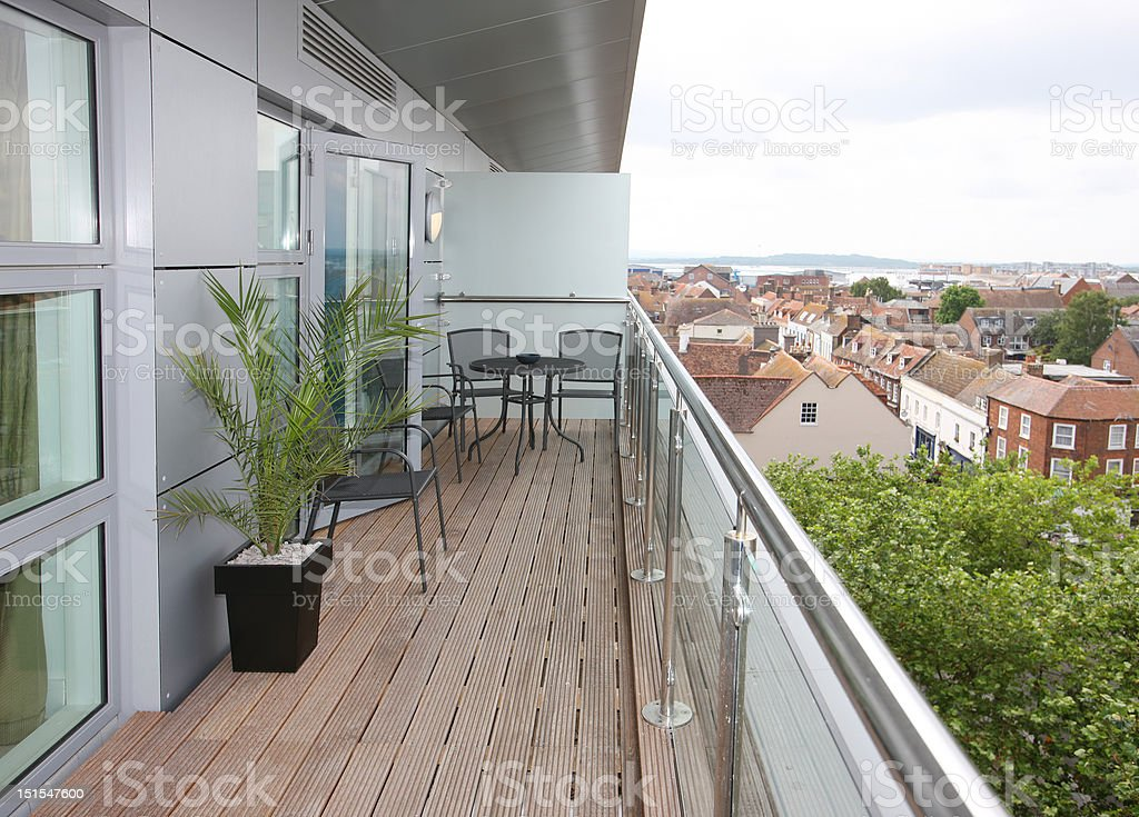 Modern Apartment Balcony Exterior stock photo
