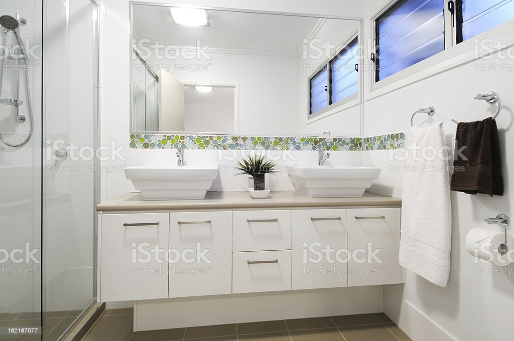 Modern apartment bathroom stock photo