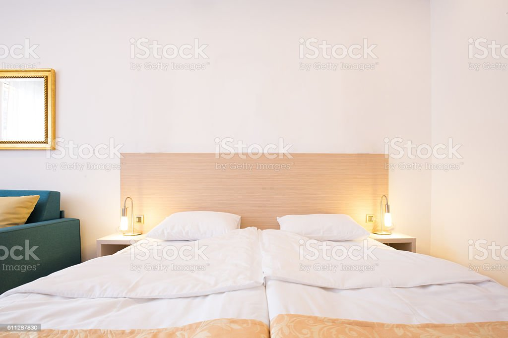 Modern apartment bedroom interior stock photo