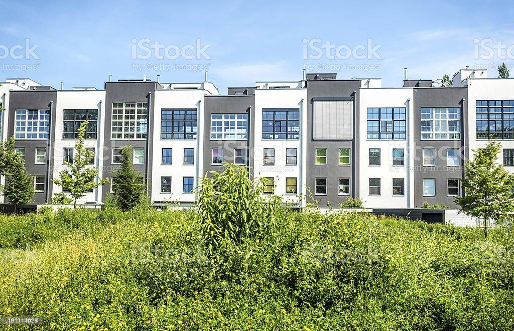 Modern apartment blocks stock photo