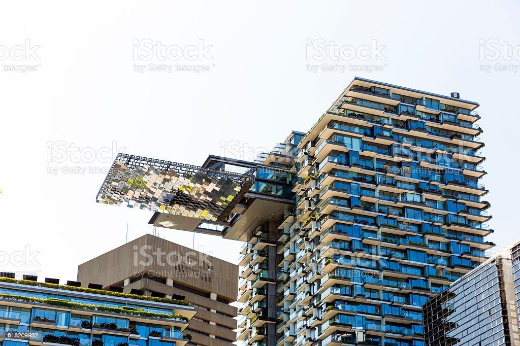 Modern apartment buildigs with heliostat, Sydney Australia, copy space stock photo