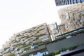 Modern apartment buildigs with heliostat, Sydney Australia, copy space