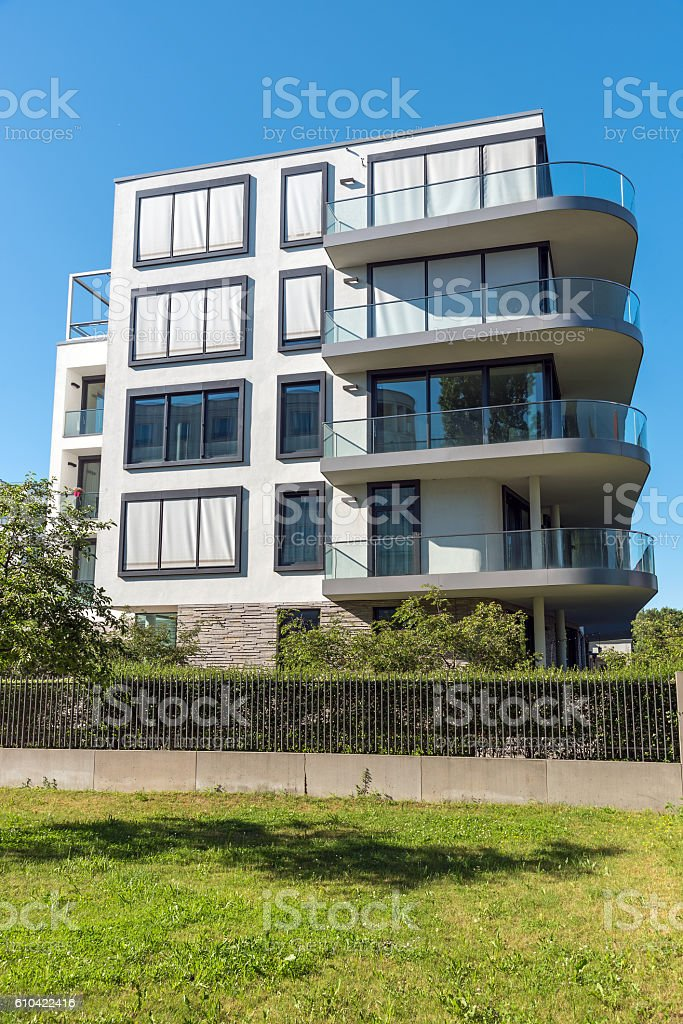 Modern apartment building in Berlin stock photo