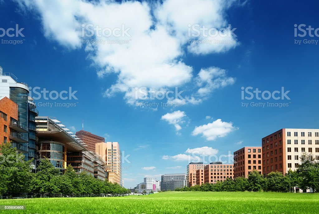 modern apartment building in park, Berlin, Germany stock photo