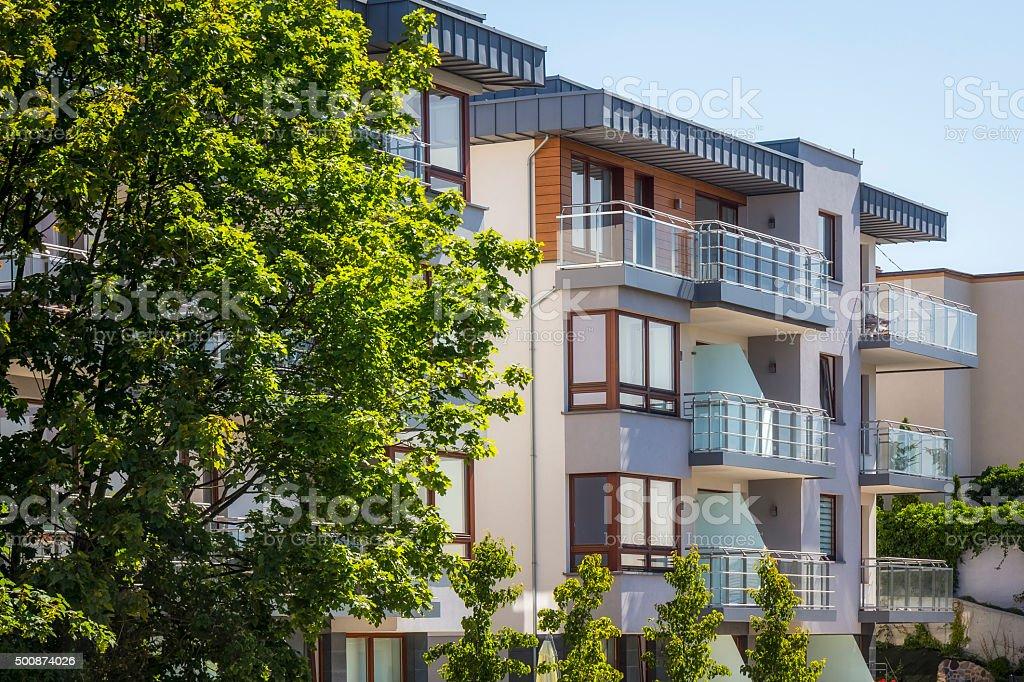 Modern apartment building stock photo