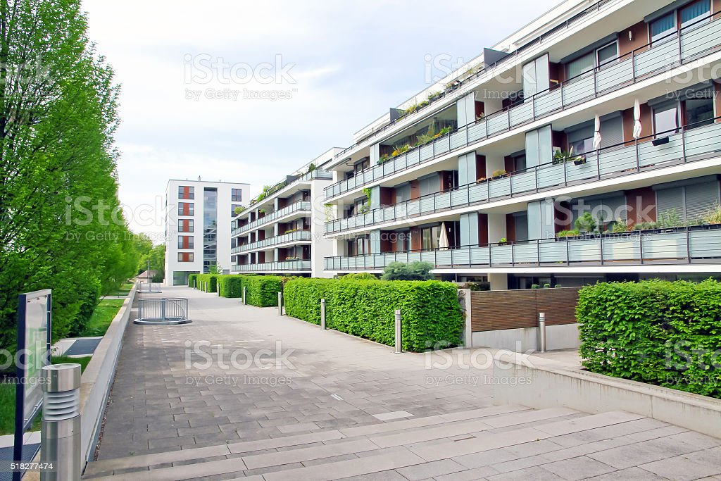 Modern apartment building stock photo