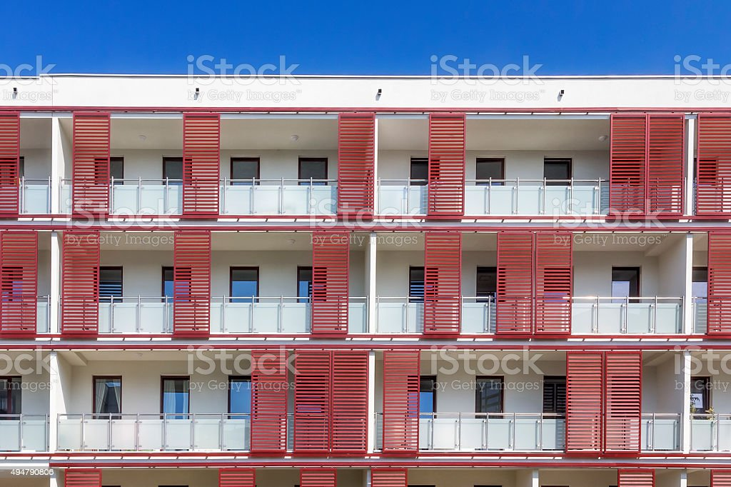 Simple Modern Apartment Building Balcony Apartments Close Glass