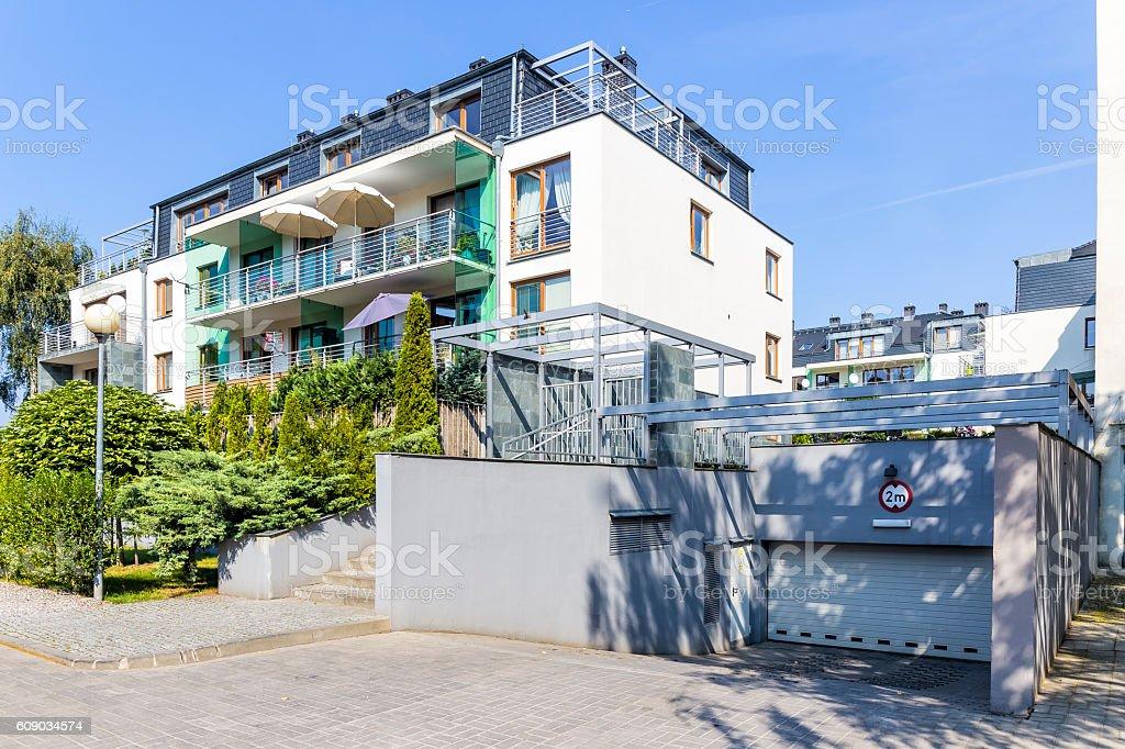 Modern apartment building with underground garage, Warsaw, Poland stock photo