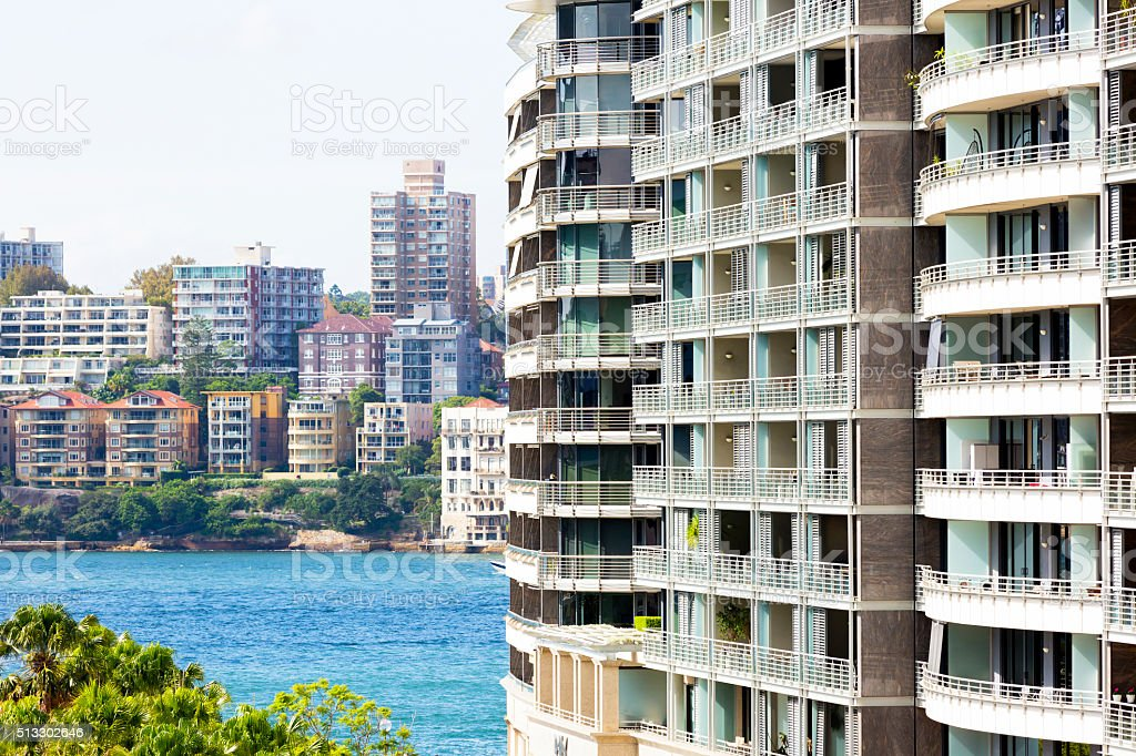 Closeup Modern Apartment Buildings In Sunlight Sydney Australia ...
