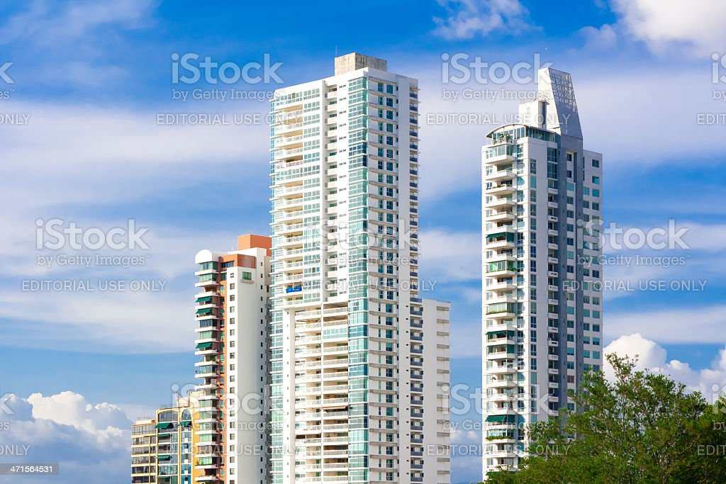 Modern apartment buildings on blue skies royalty-free stock photo