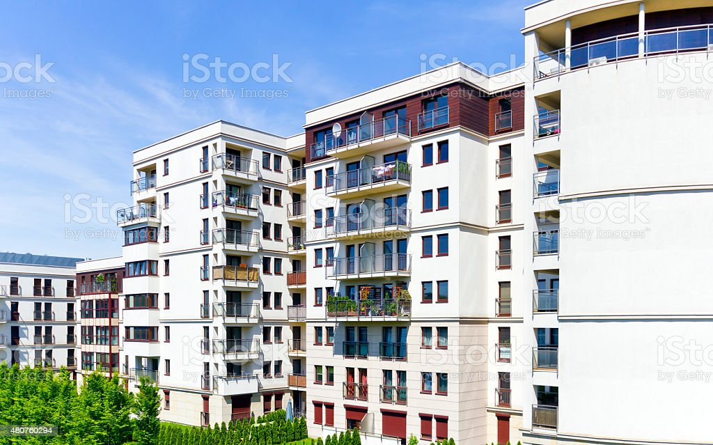 Modern apartment buildings stock photo