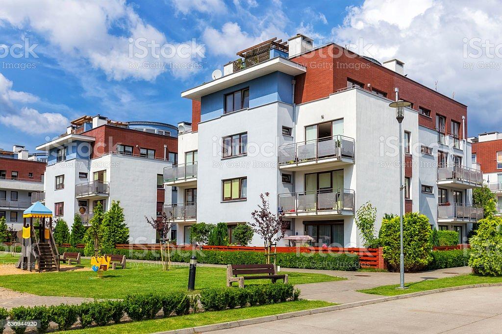 Modern apartment buildings, Warsaw, Poland stock photo