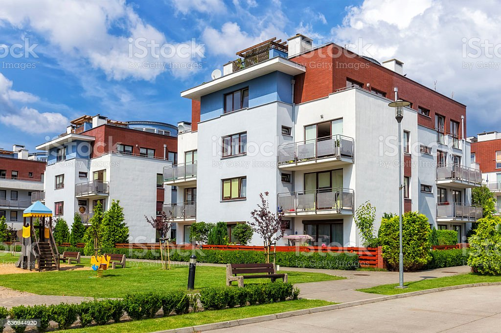 Modern apartment buildings, Warsaw, Poland stock photo