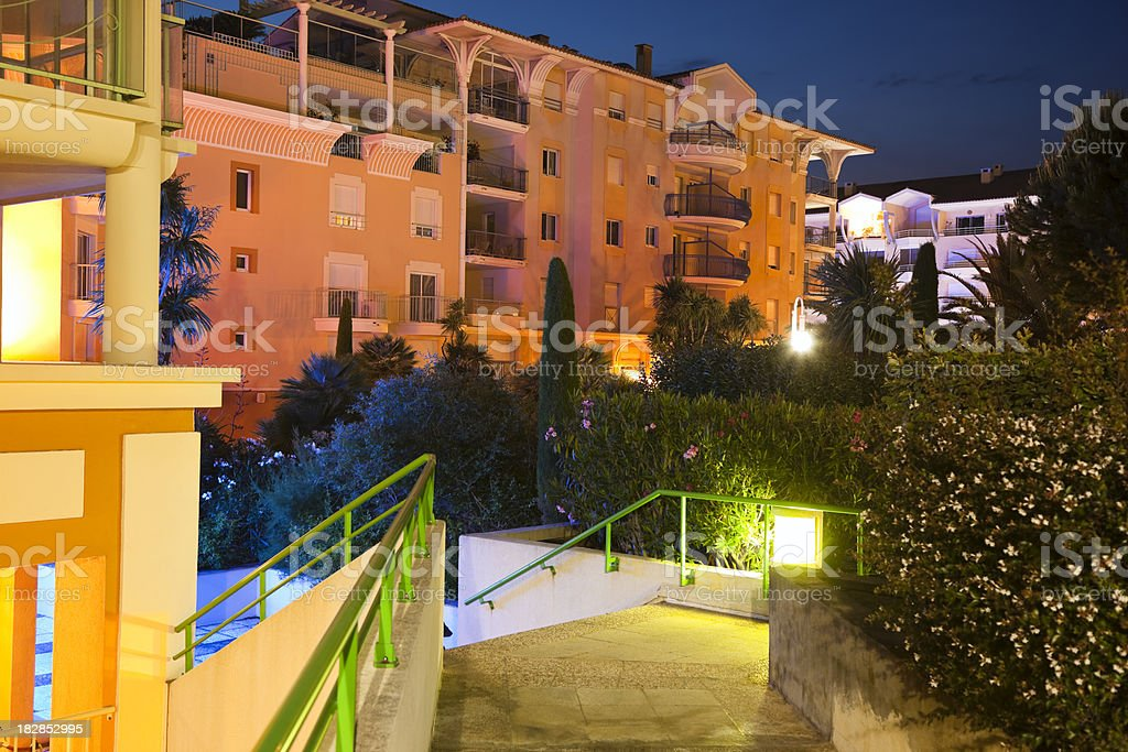 Modern Apartment Complex at Night royalty-free stock photo