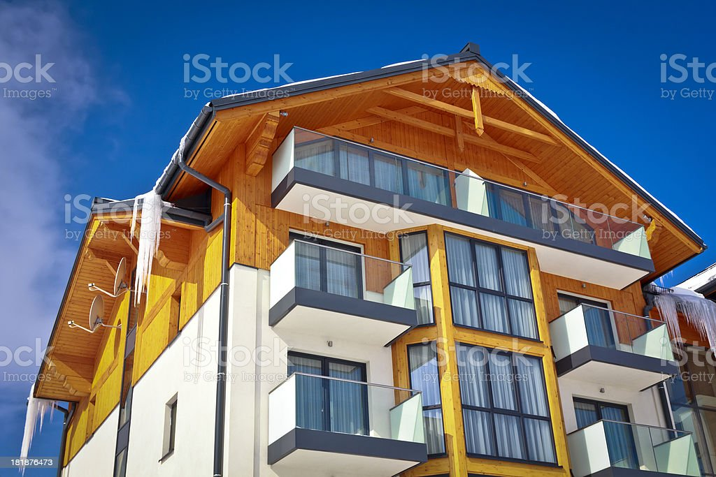 Modern apartment house in winter royalty-free stock photo