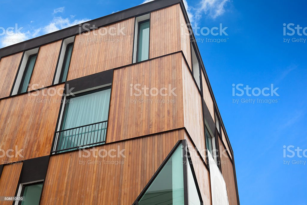 Part of a new apartment house in Chiang Mai, Thailand, with wooden...