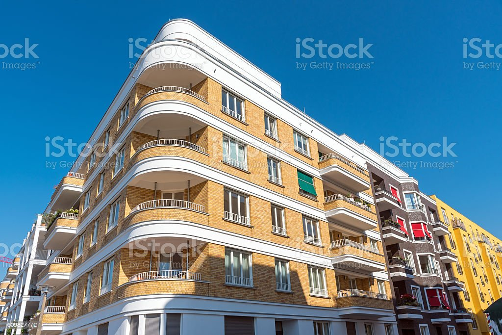 Modern apartment houses in Berlin stock photo