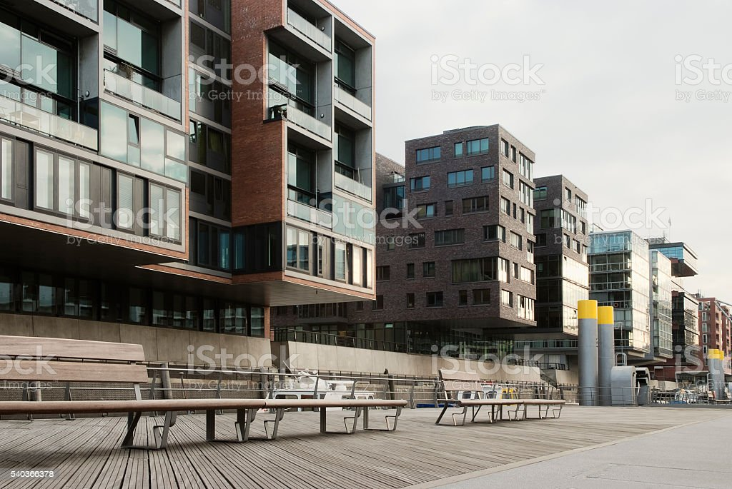 Modern Apartment Houses In the Waterfront, Hafencity, Hamburg, Germany stock photo